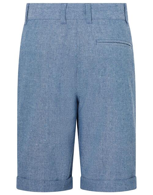 Nathan Chambray Linen Shorts, Blue (BLUE), large