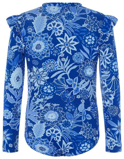 Flower Print Sunsafe Swimsuit, Blue (BLUE), large