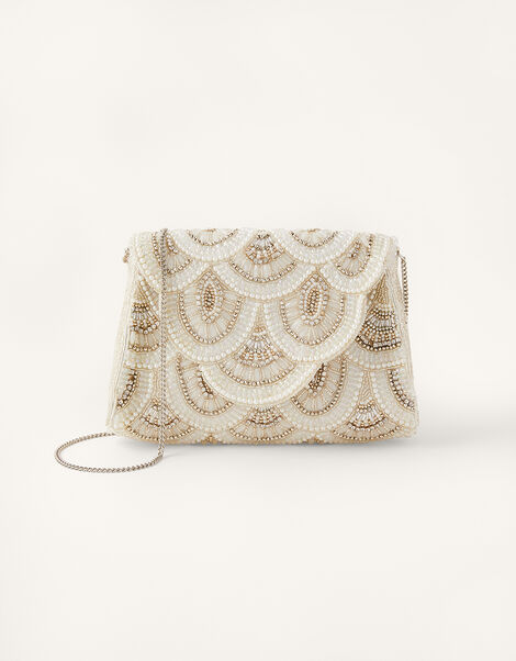 Embellished Scallop Bridal Clutch Bag , , large