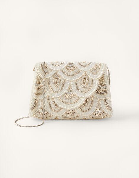 Embellished Scallop Bridal Clutch Bag , , large