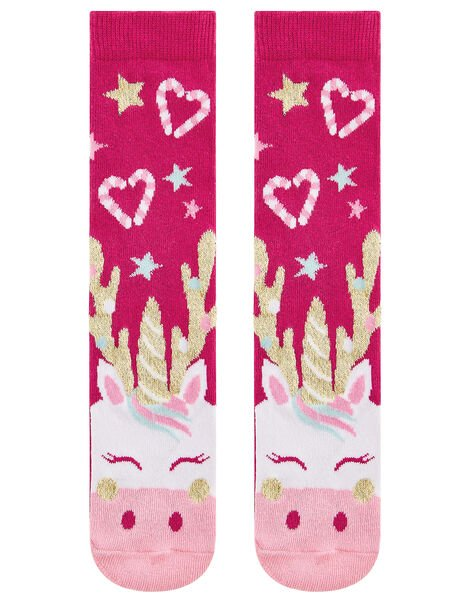Festive Reindeer Sock Set in Pure Cotton Red, Red (RED), large
