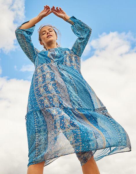 Paisley Print Midi Dress Teal, Teal (TEAL), large