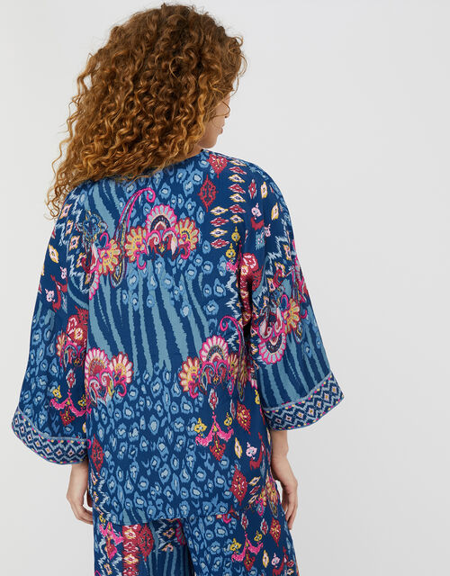 Mercy Printed Kimono in Sustainable Viscose, Blue (NAVY), large