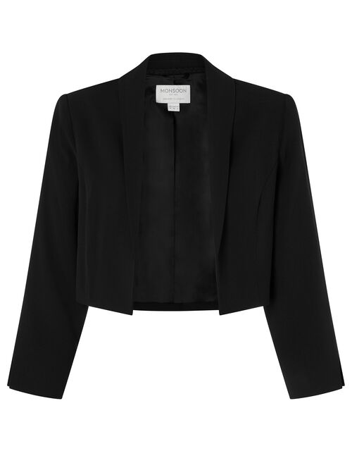 Juni Sustainable Cropped Smart Jacket, Black (BLACK), large