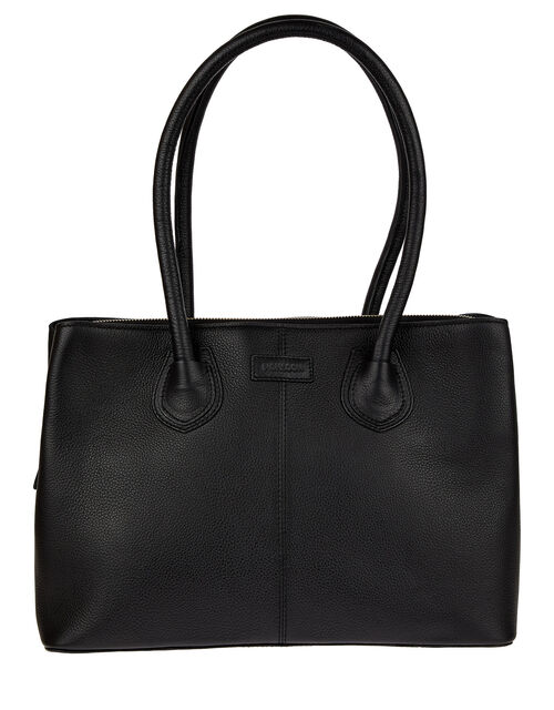 Zip Top Leather Tote Bag, , large