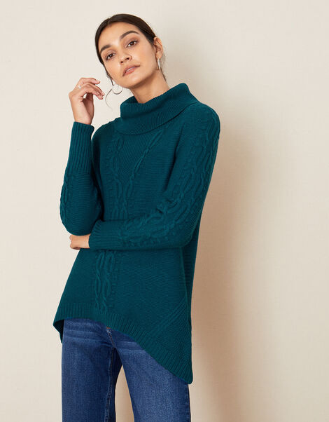 Roll Neck Cable Knit Jumper Teal, Teal (TEAL), large