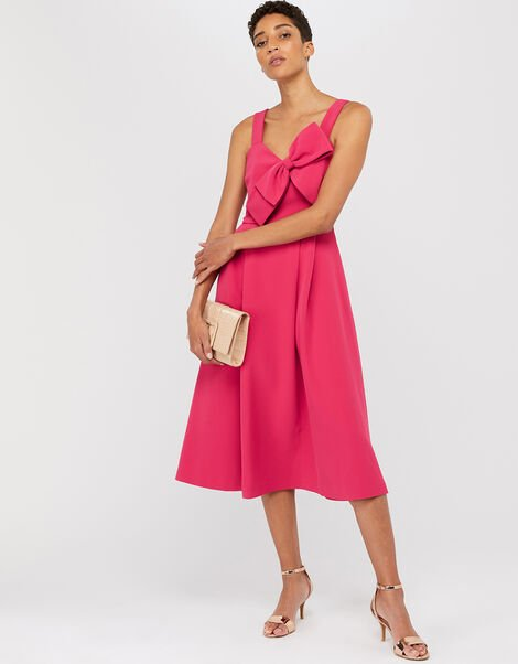 Alexa Bow Fit and Flare Dress Pink, Pink (PINK), large