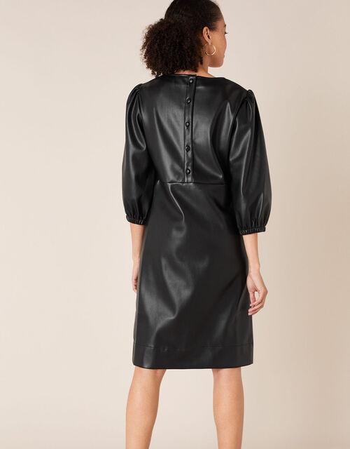 Round Neck Leather-Look Dress, Black (BLACK), large