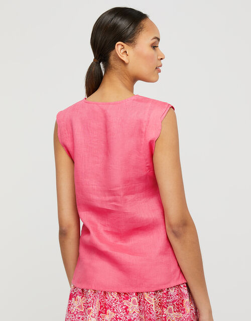 Lotus Scallop Sleeveless Top in Pure Linen, Pink (PINK), large