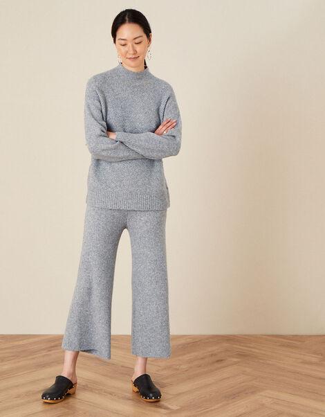 LOUNGE Wide Leg Knit Trousers Grey, Grey (GREY MARL), large