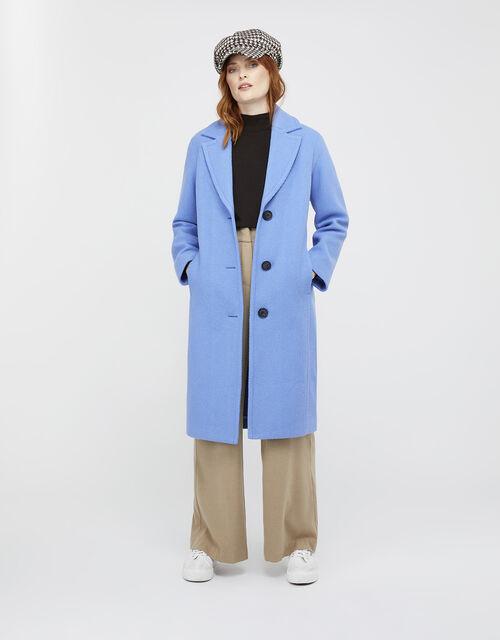 April Long Textured Coat, Blue (BLUE), large