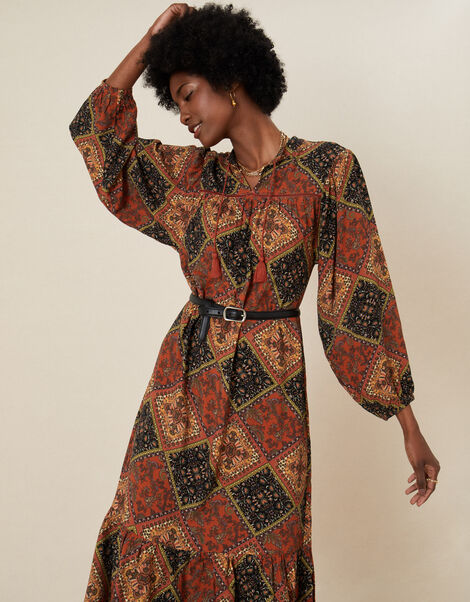 Shea Scarf Print Tunic Dress Brown, Brown (BROWN), large
