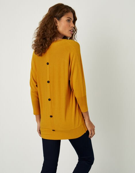 Amalie V-Neck Button Back Jumper Yellow, Yellow (OCHRE), large