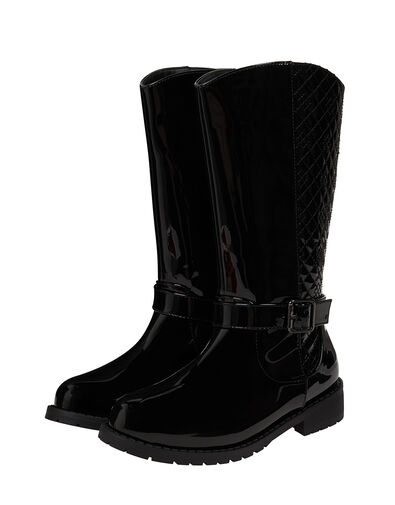 Bernadette Buckle Riding Boots Black, Black (BLACK), large