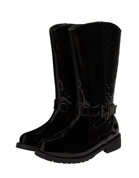 Bernadette Buckle Riding Boots Black, Black (BLACK), large