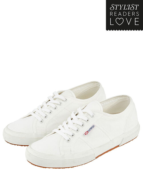 Superga Canvas Lace-Up Trainers, White (WHITE), large