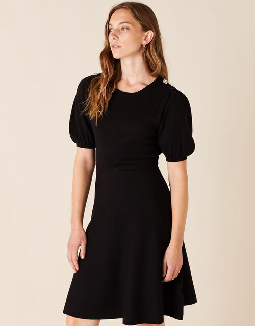 Button Detail Puff Sleeve Dress, Black (BLACK), large