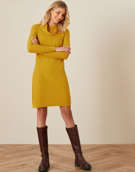 Cali Stitchy Knit Dress Yellow, Yellow (OCHRE), large