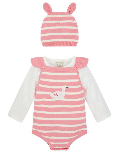 Newborn Baby Swan Knit Romper Set Pink, Pink (PINK), large