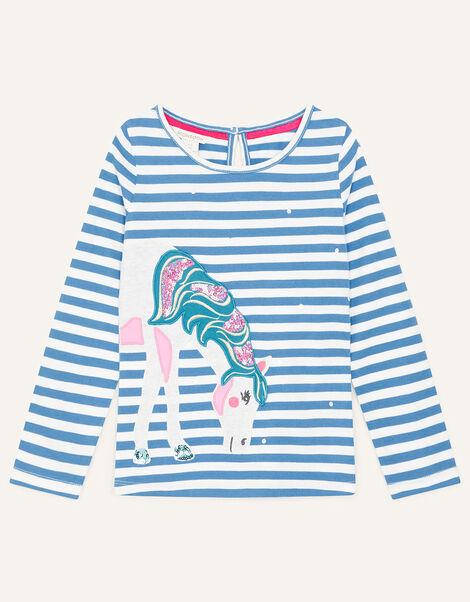 Applique Unicorn Top Blue, Blue (BLUE), large
