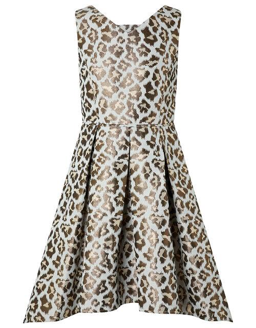 Margot Metallic Animal Print Dress, Multi (MULTI), large
