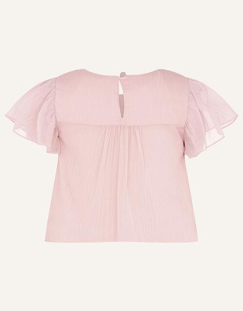 Princessa Sequin Yoke Chiffon Top , Pink (DUSKY PINK), large