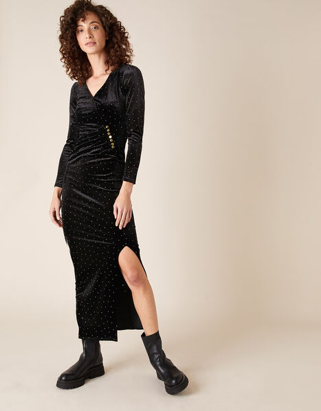 Hattie Heat-Seal Gem Velvet Maxi Dress Black, Black (BLACK), large