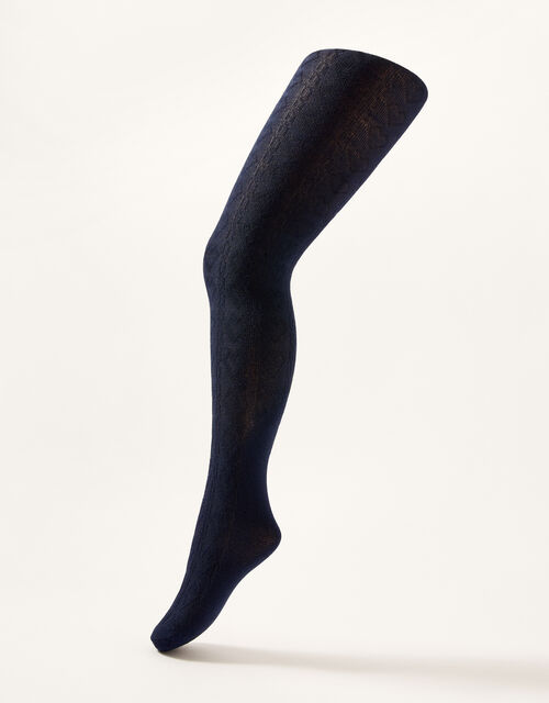 Cable Knit Tights with Natural Bamboo Fibres, Blue (NAVY), large