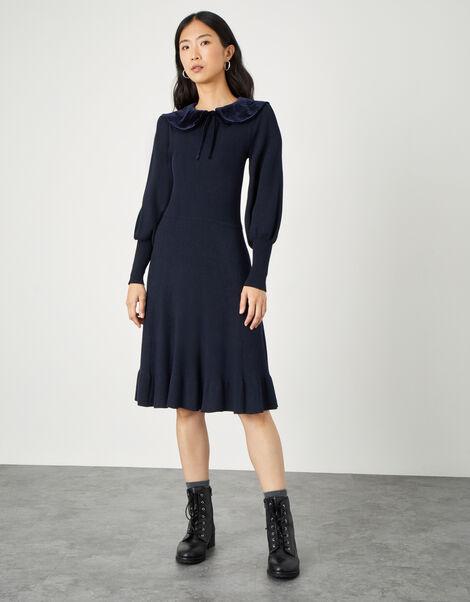 Velvet Tie Collar Long Sleeve Dress Blue, Blue (NAVY), large