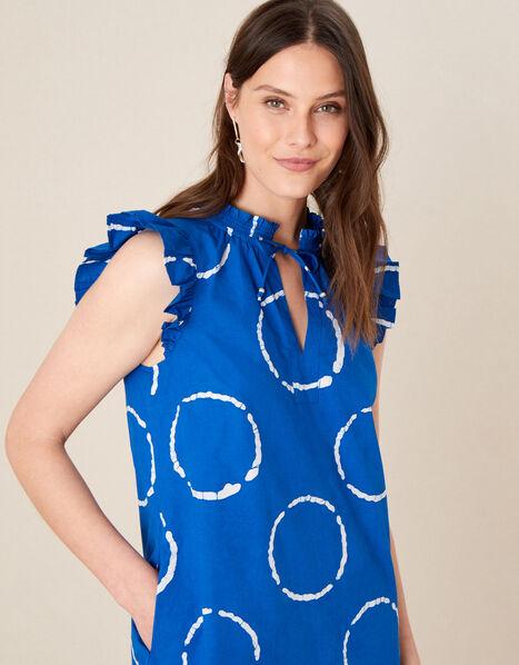 Tie-Dye Poplin Dress Blue, Blue (BLUE), large