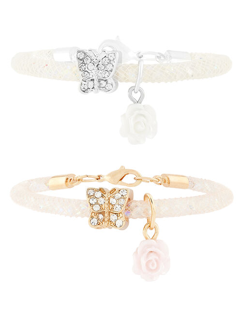 Bead Encased Bracelets with Butterfly Charms, , large