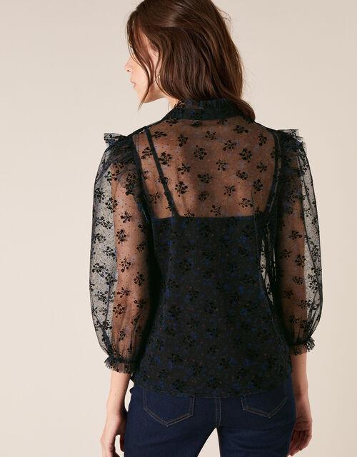 Floral Print Lace Blouse, Black (BLACK), large