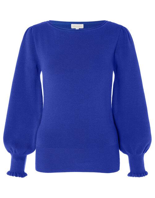 Scoop Neck Knit Jumper, Blue (COBALT), large