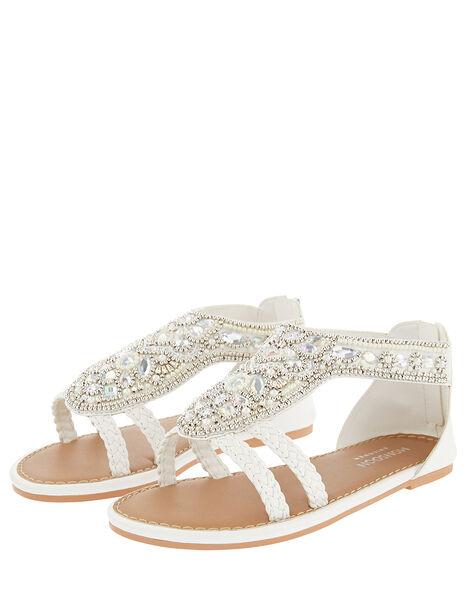 Diamond Shape White Beaded Sandal  White, White (WHITE), large