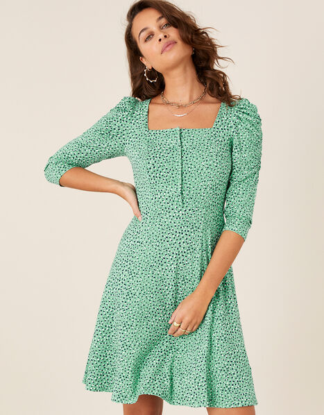 Printed Square Neck Jersey Dress Green, Green (GREEN), large