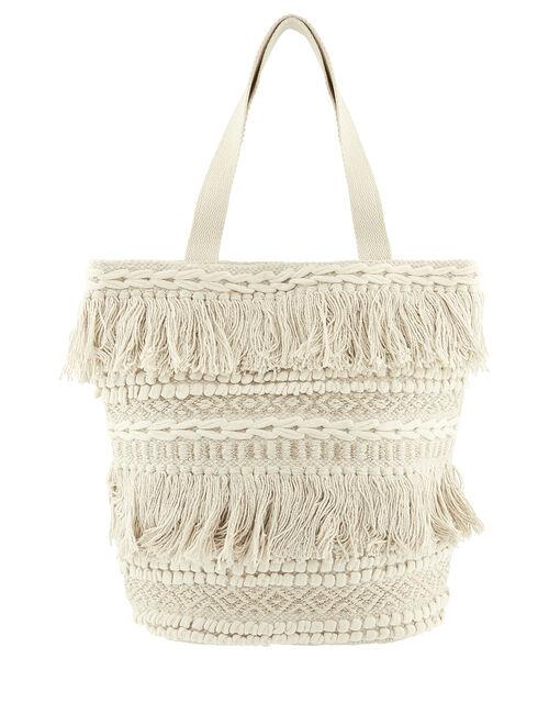 Fringe Textured Shopper Bag, , large