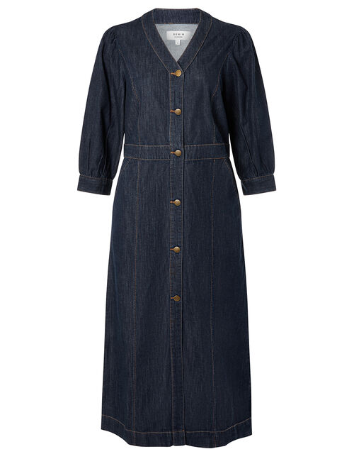Denim Midi Dress in Organic Cotton , Blue (INDIGO), large