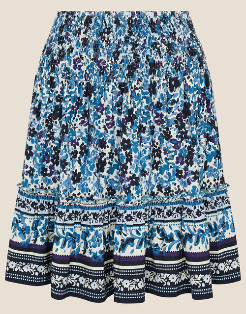 Petronella Ditsy Floral Jersey Skirt, Blue (NAVY), large
