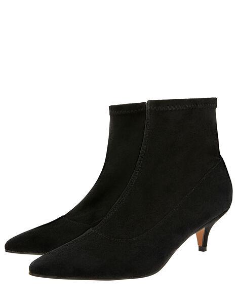 Vixie Ankle Suedette Sock Boots Black, Black (BLACK), large
