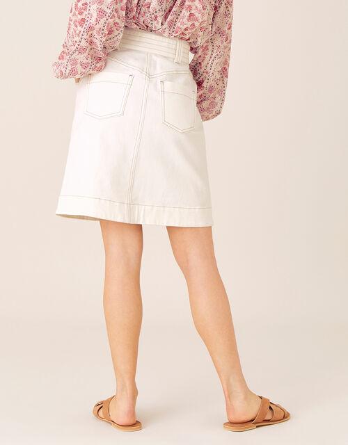 Belted Denim Skirt in Organic Cotton, Natural (ECRU), large
