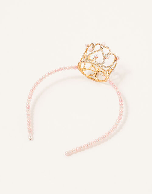 Pearl Diamante Crown Headband , , large