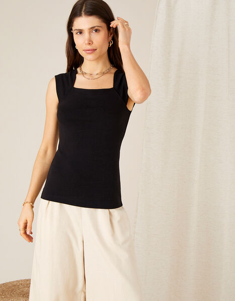 Clara Square Neck Vest Black, Black (BLACK), large