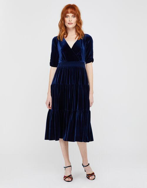 Stevie Smock Velvet Midi Dress, Navy, large