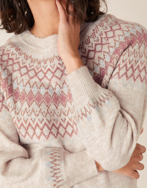 Fair Isle Yoke Knit Jumper, Nude (NUDE), large