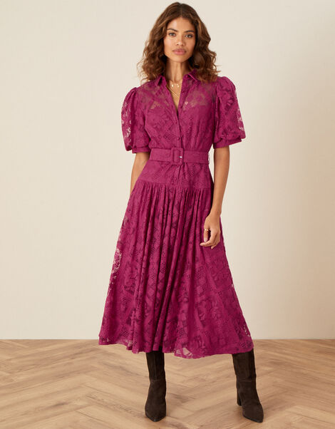 Leila Lace Shirt Dress Red, Red (BERRY), large