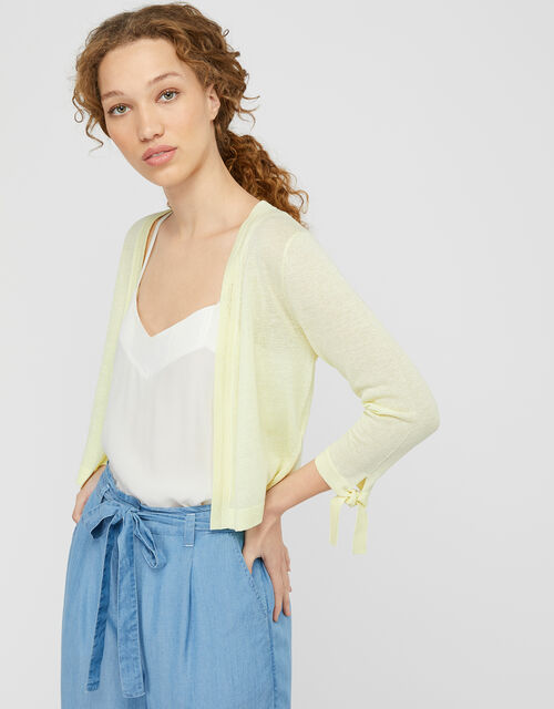 Tabby Tie Cuff Lightweight Shrug in Linen Blend, Yellow (YELLOW), large