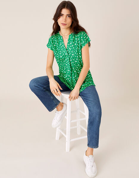 Candra Printed Top in Pure Linen Green, Green (GREEN), large