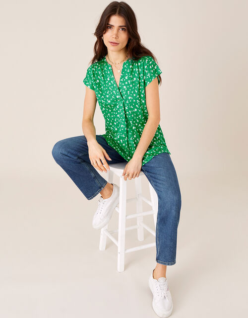 Candra Printed Top in Pure Linen, Green (GREEN), large