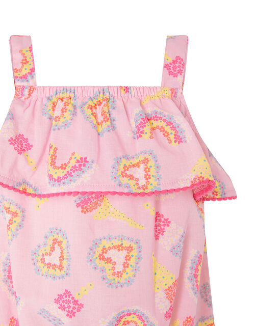 Baby Heart and Rainbow Frill Jumpsuit, Pink (PALE PINK), large