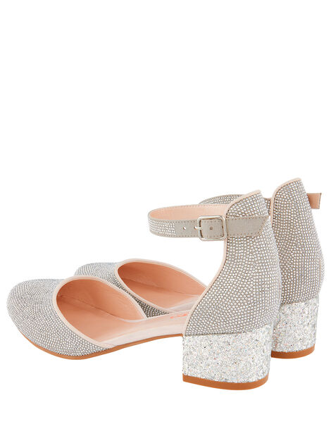 Diamante Two-Part Heeled Shoes Silver, Silver (SILVER), large
